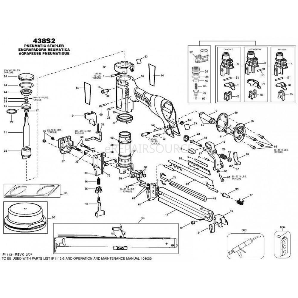 Bostitch 438S2-1 16 GA. Wide Crown Stapler Parts | eRepair Source ...