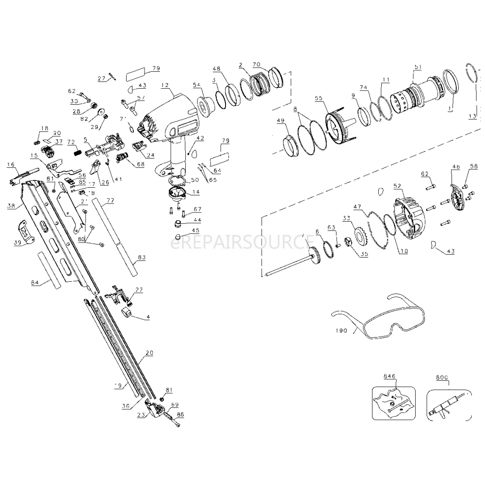 DeWalt D51822 (Type 3) Clipped Head Framing Nailer Parts | eRepair ...