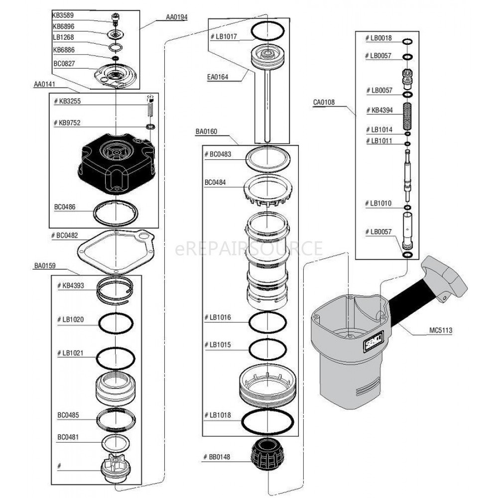 Senco FramePro 601 Framing Nailer Parts | eRepair Source ...