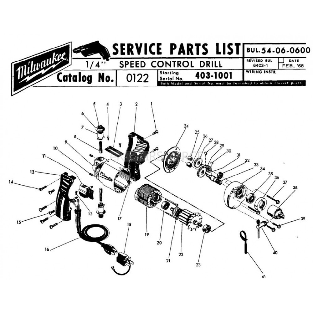 Milwaukee 0122 (403-1001) 1/4 Sd Control Drill Parts | eRepair ... on craftsman radial arm saw wiring diagram, dewalt drill wiring diagram, drill press wiring diagram, cordless drill wiring diagram, snap on wiring diagram,