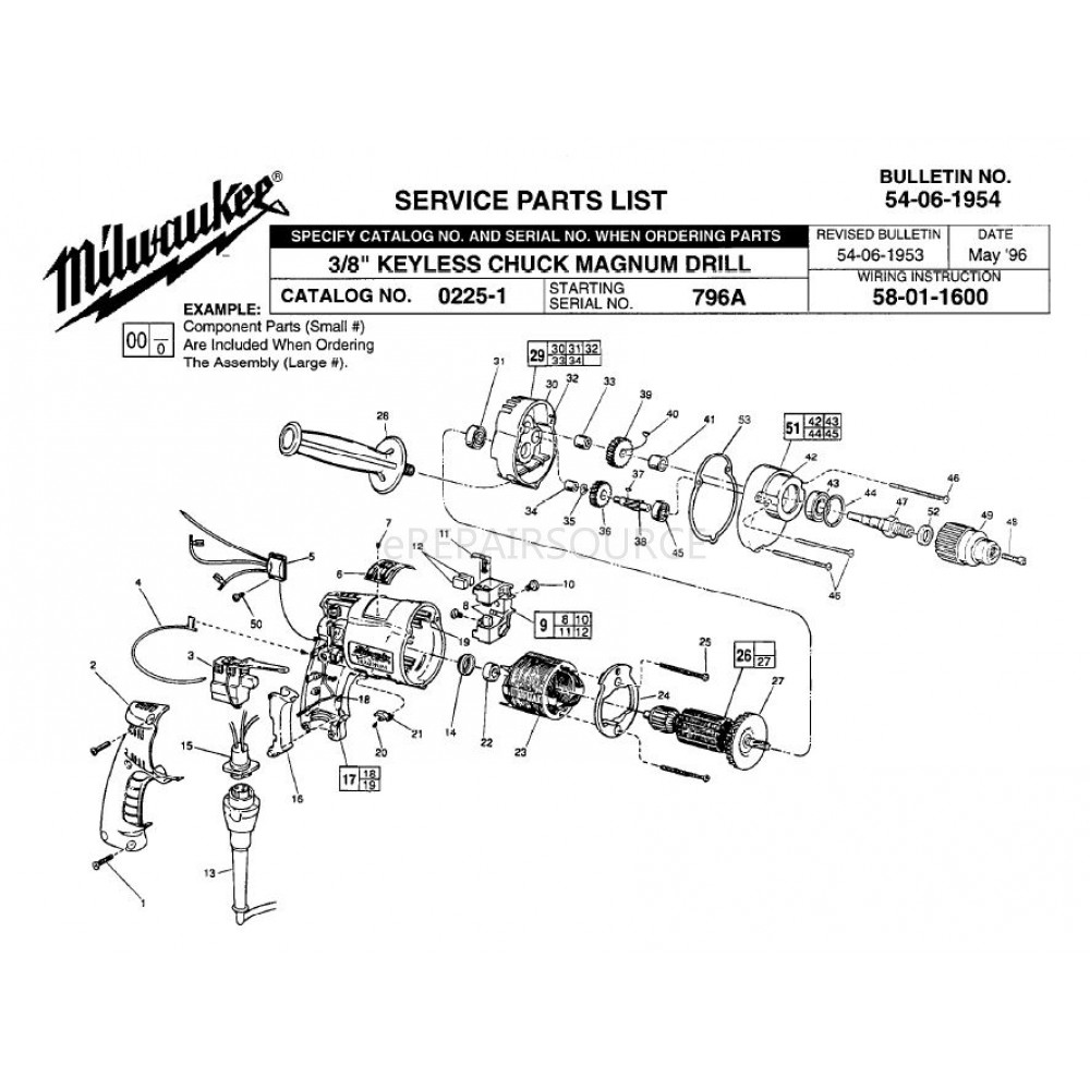 Milwaukee Magnum Drill Wiring Diagram Electrical Diagrams Sawzall 0225 1 796a 3 8 Keyless Chuck Parts Index