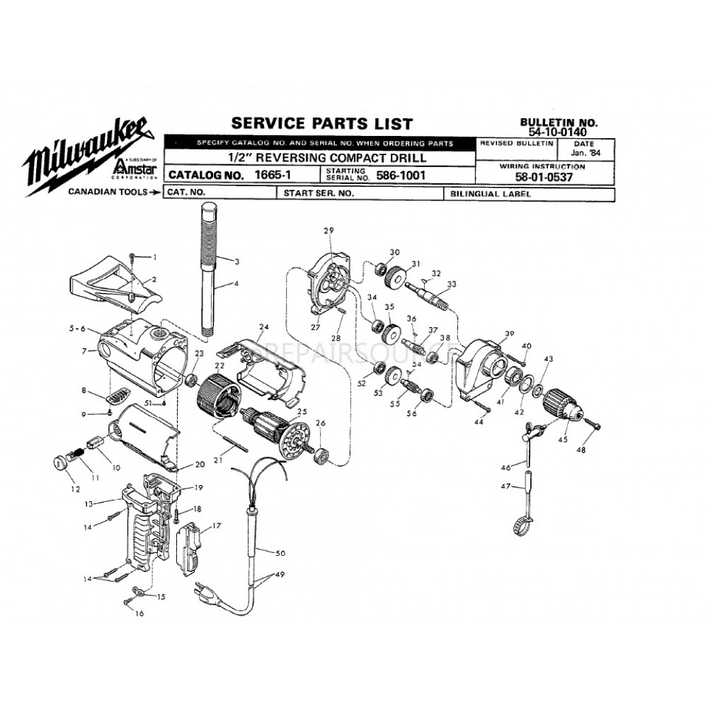 Milwaukee 1665 1 586 1001 2 Reversing Compact Drill Parts Sawzall Wiring Diagram More Views