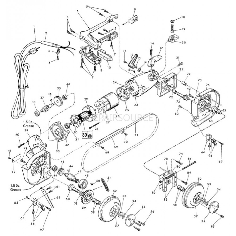 milwaukee band saw parts diagram