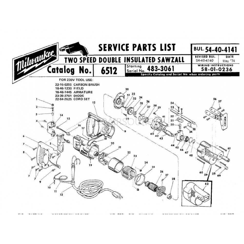 Fine Milwaukee 6512 483 3061 Two Speed Double Insulated Sawzall Parts Wiring Cloud Hisonuggs Outletorg